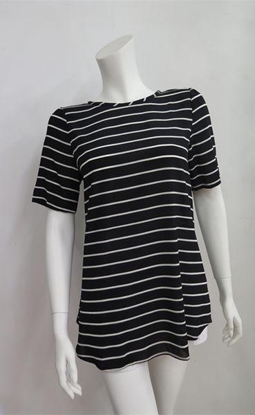 雪紡橫紋寬鬆短袖衫