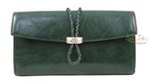 ZODENCE-義大利樹羔牛皮系列 編織環壓扣長夾 綠色(Z14H517A01G1)