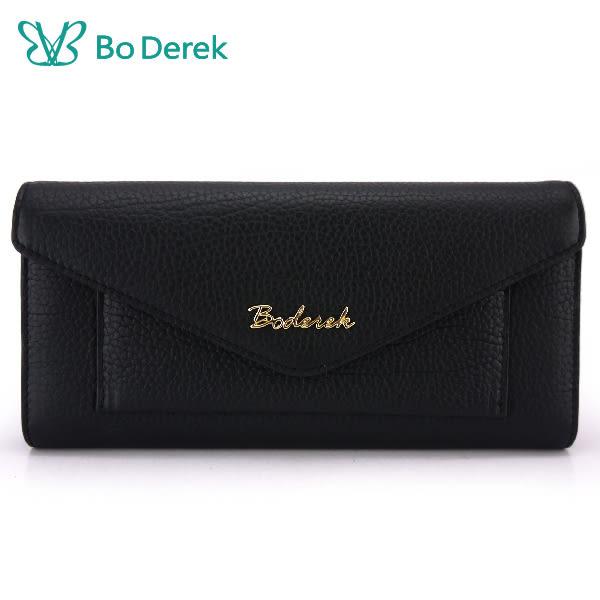 【Bo Derek】壓紋牛皮信封蓋長夾-黑色
