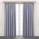 簡約色條印花遮光窗簾 寬290x高210cm 黃色