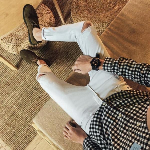 牛仔褲 九分牛仔褲男青少年小腳修身型韓版黑色百搭男士長褲子潮流