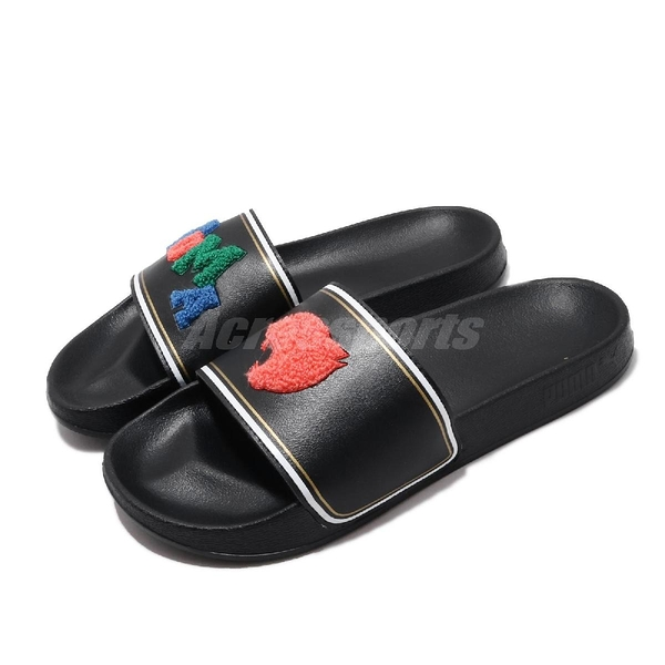 Puma 拖鞋 Leadcat FTR Badges 黑 紅 男鞋 女鞋 絨毛設計 涼拖鞋 【ACS】 37262201