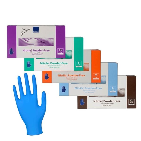 Abena 雅保 醫療級丁腈手套(未滅菌/無粉) 藍色 XS-XL號 (100PC/盒) 【杏一】