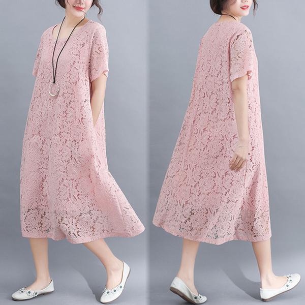 洋裝 連身裙 很仙的洋裝大碼女裝胖公主夏裝新款文藝減齡胖mm顯瘦蕾絲中長裙 尾牙交換禮物