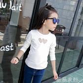 中大童長袖 女童長袖t恤 2021新款春秋中大童純棉白色打底衫洋氣韓版潮鏤空黑 薇薇