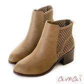 amai三角形鏤空木紋粗跟短靴 駝