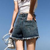 2019夏季新款牛仔短褲女寬鬆毛邊闊腿韓版顯瘦復古網紅a字熱褲潮