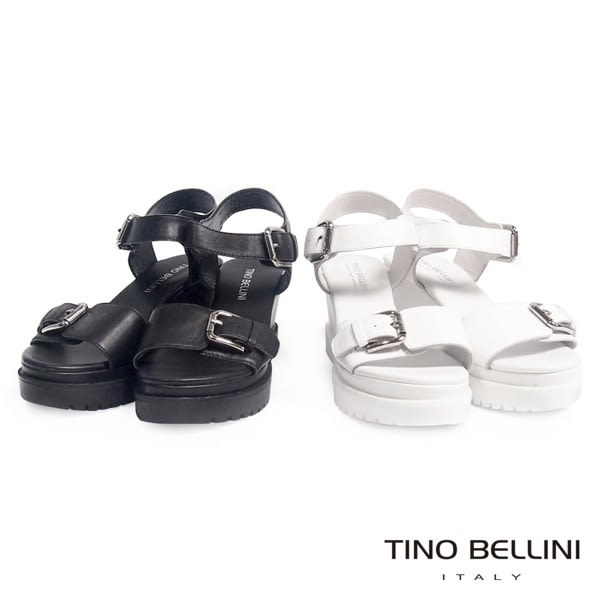Tino Bellini 個性新態度雙釦帶楔型涼鞋(黑)_CL2162A  2016SS