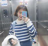 針織衫秋裝韓版學院風百搭捲邊高領條紋 糖糖日系森女屋