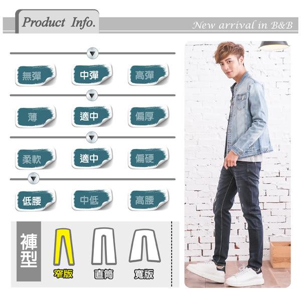 高磅數個性湛藍皮革造型牛仔褲