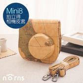 Norns 【Mini8 Mini9拍立得相機皮套-地圖紋】附背帶 另售水晶殼 mini 8 9相機包