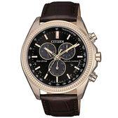 【台南 時代鐘錶 CITIZEN】星辰 光動能 卓越質感萬年曆光動能腕錶 BL5562-18E 咖啡色皮帶 黑 44mm