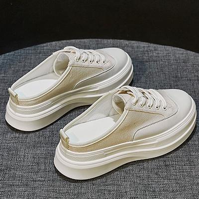 包頭厚底涼鞋 無後跟拖鞋女 系帶小白鞋/2色-夢想家-標準碼-0324