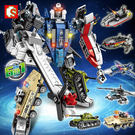 現貨森寶積木變形合體機器人金剛模型兒童益智男孩子玩具兼容樂高 玩具
