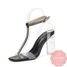 高跟涼拖鞋 白色T型透明粗跟玻璃鞋 新娘鞋 高跟鞋 晚宴鞋*KWOOMI-A51