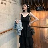 吊帶洋裝2020夏季大碼法國小眾新款減齡復古蛋糕裙胖mm高腰顯瘦吊帶連身裙 JUST M