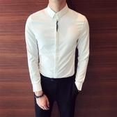純色基本款門襟樹葉刺繡正韓修身簡約百搭男士休閒長袖素面襯衫