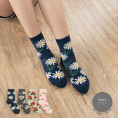 韓國襪子 浪漫花朵中筒襪【K0645】