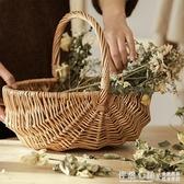 編織野餐籃子ins柳編野餐用品竹編筐戶外日式手工柳編水果手提籃 NMS怦然新品