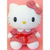 尼德斯Nydus 日本正版 三麗鷗  Hello Kitty 凱蒂貓 可愛造型 格子洋裝 娃娃 玩偶 約50公分