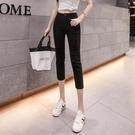 窄管褲 白色七分牛仔褲女夏季高腰顯瘦小個子破洞緊身小腳褲-Ballet朵朵