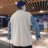 一件免運-毛衣馬甲男春秋款正韓潮流學生百搭文藝針織背心寬鬆V領坎肩外套