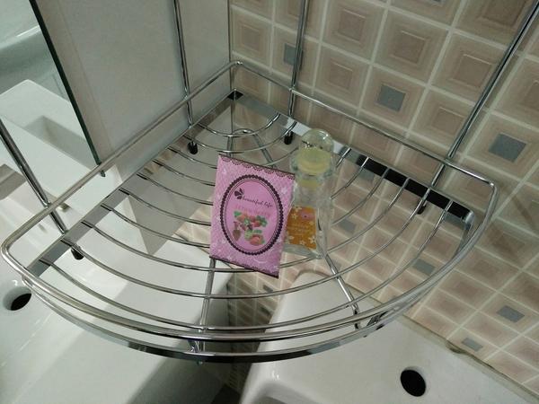 衛浴 浴室 雙層轉角架 收納網籃 收納架 置物平台 寬26*深26*高37.5cm