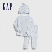 Gap嬰兒棉質舒適印花家居服套裝帶帽子571798-淺藍色