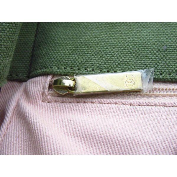 【滿萬送千】CHANEL 香奈兒 綠色復古帆布金鍊後背包 Denim Rucksack 【BRAND OFF】