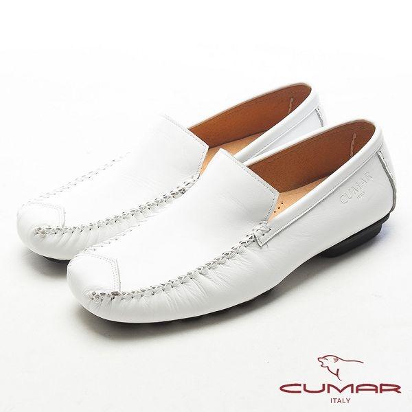 CUMAR英倫風格●樂活生活淺口帆船樂福鞋-白色