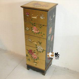 田園新古典漆器金箔 彩繪柱櫃/裝飾