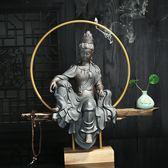 觀音佛像 供奉家用 招財鎮宅 中式客廳家居玄關禅意陶瓷人物擺件