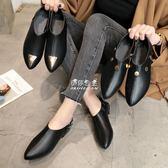 英倫黑色小皮鞋女學生韓版百搭尖頭中跟粗跟平底單鞋  伊莎公主