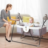 嬰兒床電動搖籃床便攜式可折疊寶寶搖搖床新生兒多功能帶蚊帳BB床  ATF 蘑菇街小屋