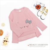粉紅貓咪不倒絨長版上衣 內刷毛 保暖 貓咪 女童上衣 可愛 粉色 A字 長版 哎北比童裝