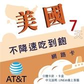 《美國純網卡》美國AT&T 7天上網吃到飽 僅美國可使用/不降速吃到飽/美國網卡/旅遊網卡