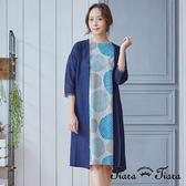 【Tiara Tiara】雙面大圓圈純棉短袖洋裝(藍)-不含罩衫
