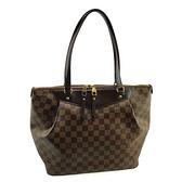 【奢華時尚】LV 咖啡色棋盤格紋帆布 Westminster GM 肩背包(八八成新)#25348