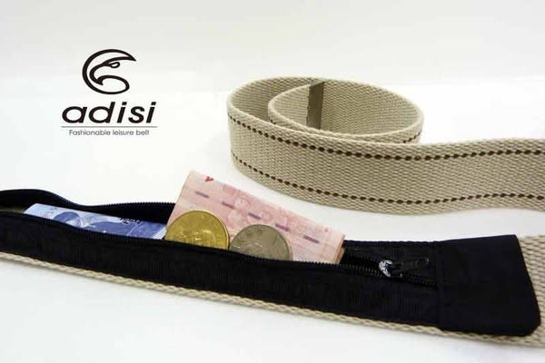ADISI 織帶休閒藏錢腰帶 AS11025 兩條盒裝︱仿舊帶頭 藏錢款 / 城市綠洲