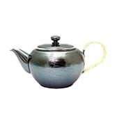 日本銅器【銀川堂】燻銀 烏龍茶壺 0.36L 古銀小銅茶壺 燻銀色銅壺 鍍銀急須壺 漣漪波紋