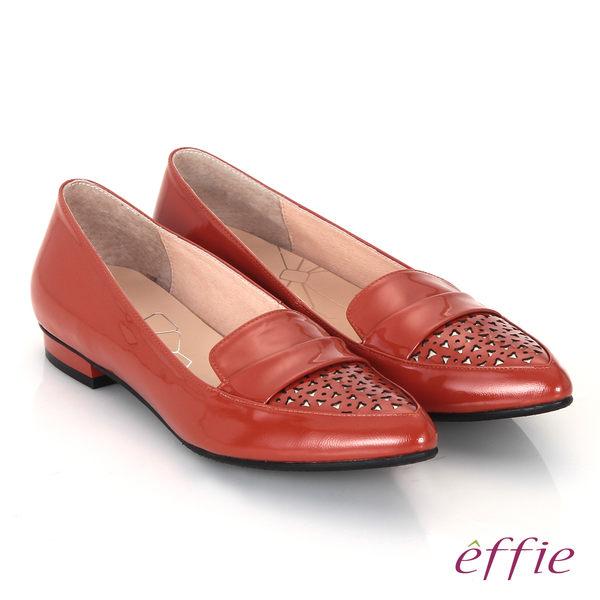 effie 輕透美型 鏡面羊皮混異材質樂福平底鞋 灰色