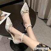 網紅高跟鞋細跟2021春夏新款尖頭絲帶淺口百搭一字帶中空仙女涼鞋 時尚芭莎
