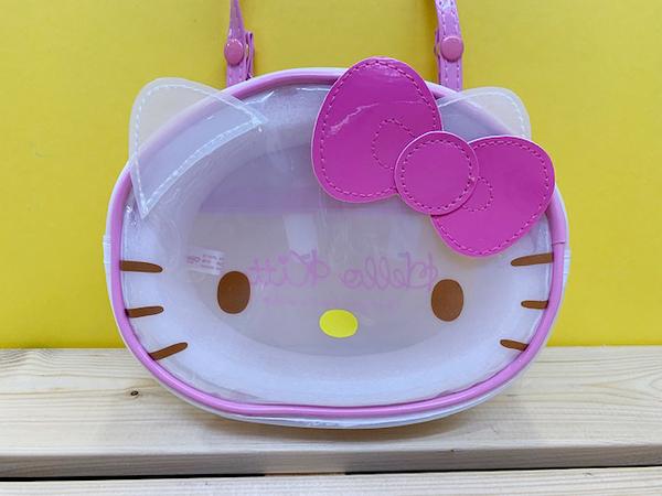 【震撼精品百貨】Hello Kitty 凱蒂貓~KITTY斜背包(可夾式)-透明大頭#79072