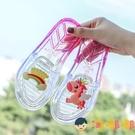 兒童拖鞋夏季女童外穿軟底沙灘涼拖水晶透明平底一字拖【淘嘟嘟】