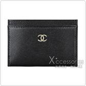 CHANEL 經典雙C 雕刻金屬LOGO牛皮開放式卡片夾(黑)
