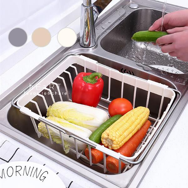 廚房碗碟可伸縮瀝水置物架蔬果籃 瀝水架 水槽置物架