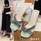 細跟拖鞋女性感氣質2020新款韓版夏款簡約甜美高跟仙女風拖鞋女 LF5557【極致男人】