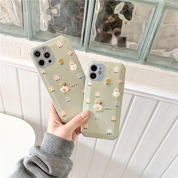 抹茶綠刺繡花朵鴨鴨 適用 iPhone12Pro 11 Max Mini Xr X Xs 7 8 plus 蘋果手機殼