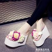 夏季拖鞋女超高跟厚底人字拖手工花朵沙灘防滑大碼夾腳涼拖鞋