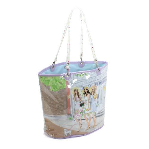 Reiko Aoki青木禮子Hampton插畫圖紋防水PVC肩背水桶包(淺紫色)730002-17